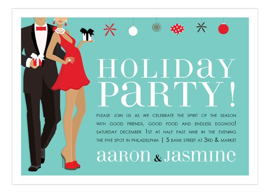 Holiday Party Couple African American Invitation  Holiday