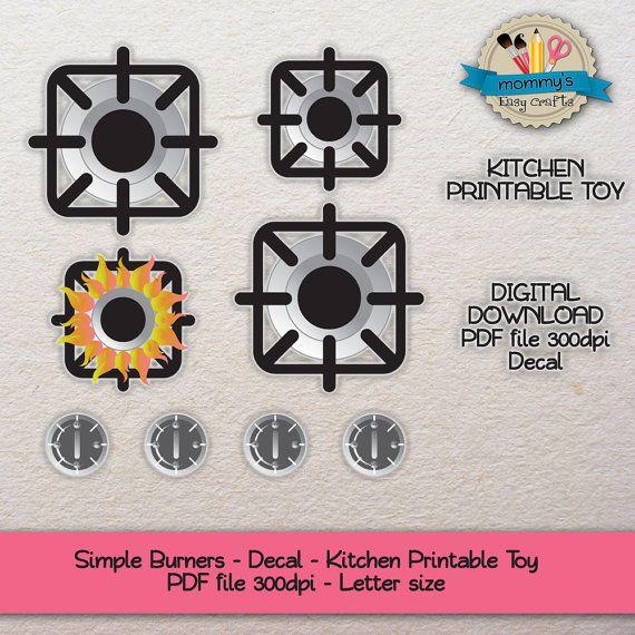 DIGITAL DOWNLOAD - Individual Burners - Decal - Kitchen Printable ...