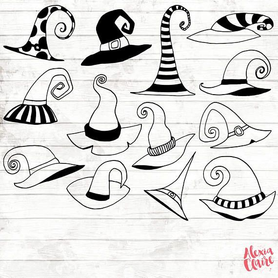Halloween Clipart Hand Drawn Witch Hat Clipart Halloween Digital Paper Halloween Elements Witches Hat Illustration Acgabw29 Easy Halloween Drawings Witch Drawing Bullet Journal Halloween