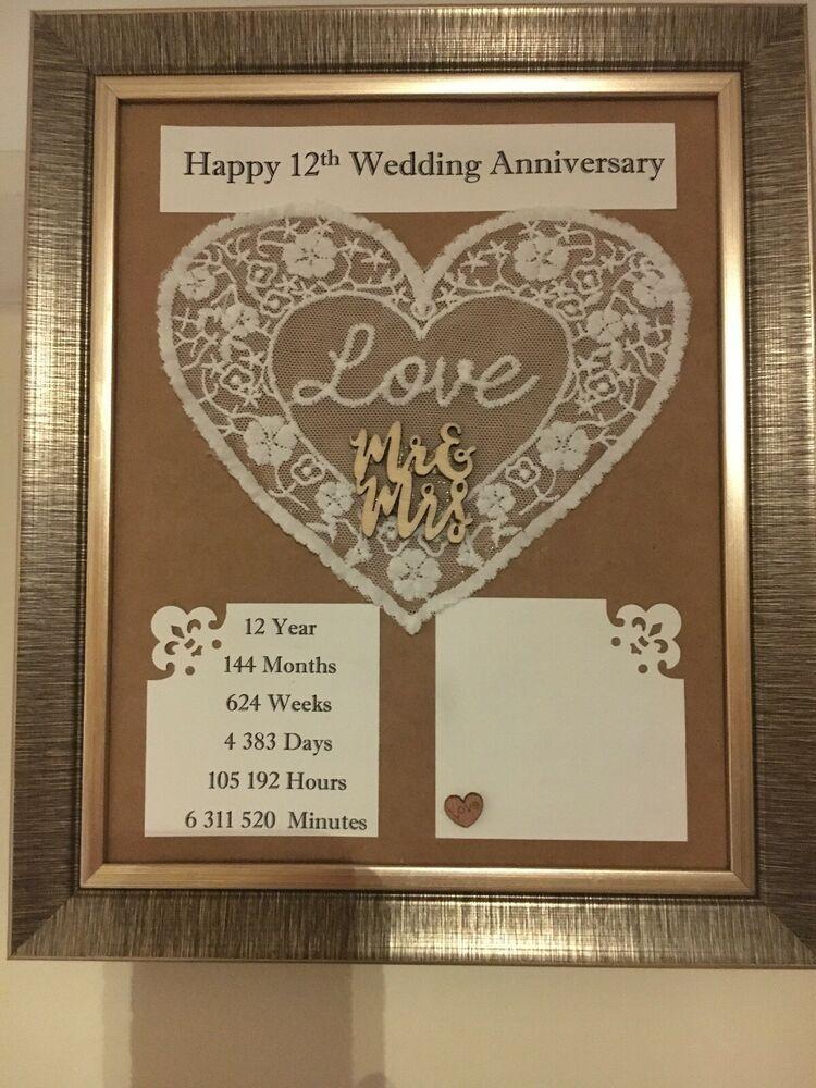12th Wedding Anniversary Frame Rustic Gift Silk 3d Handmade Wooden