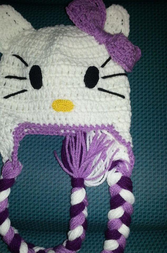 Gorro Hello Kitty a Crochet | caciuli crosetate | Pinterest | Häkeln