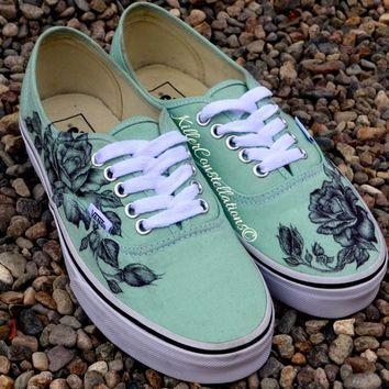 865f817c9f Custom Hand Drawn Sharpie Rose Design Vans Shoes