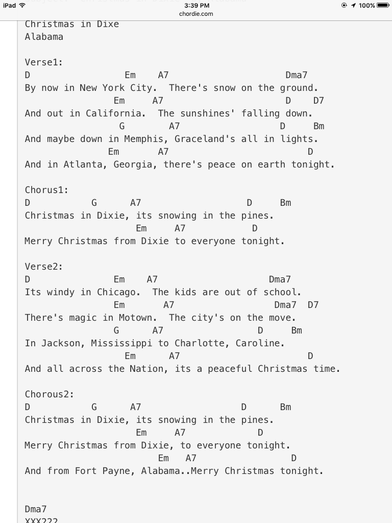Alabama S Christmas In Dixie Ukulele Chords Songs Ukulele Music Alabama Song
