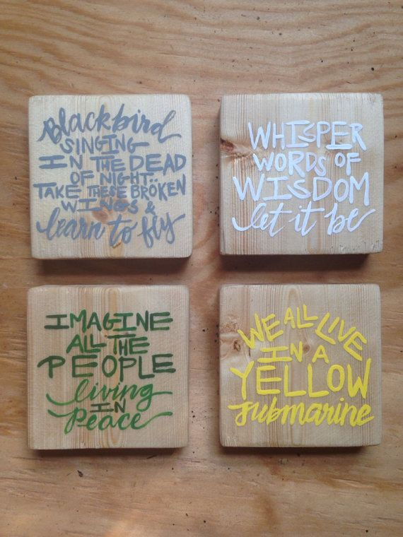 Wooden Coasters Beatles Coasters Song Lyric Coasters
