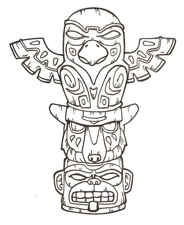 Terrifying Totem Poles Coloring Page | Kids Play Color | Painting ...