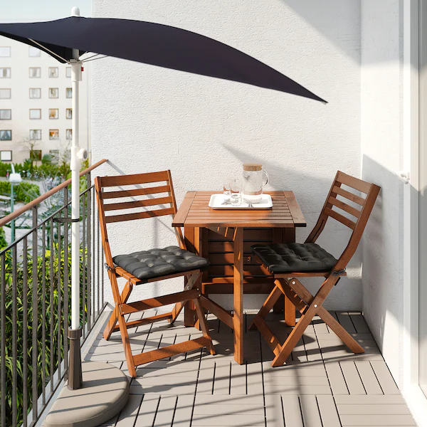 Fliso Parasol Zwart Ikea In 2020 Small Apartment Patio Apartment Balcony Decorating Small Balcony Decor