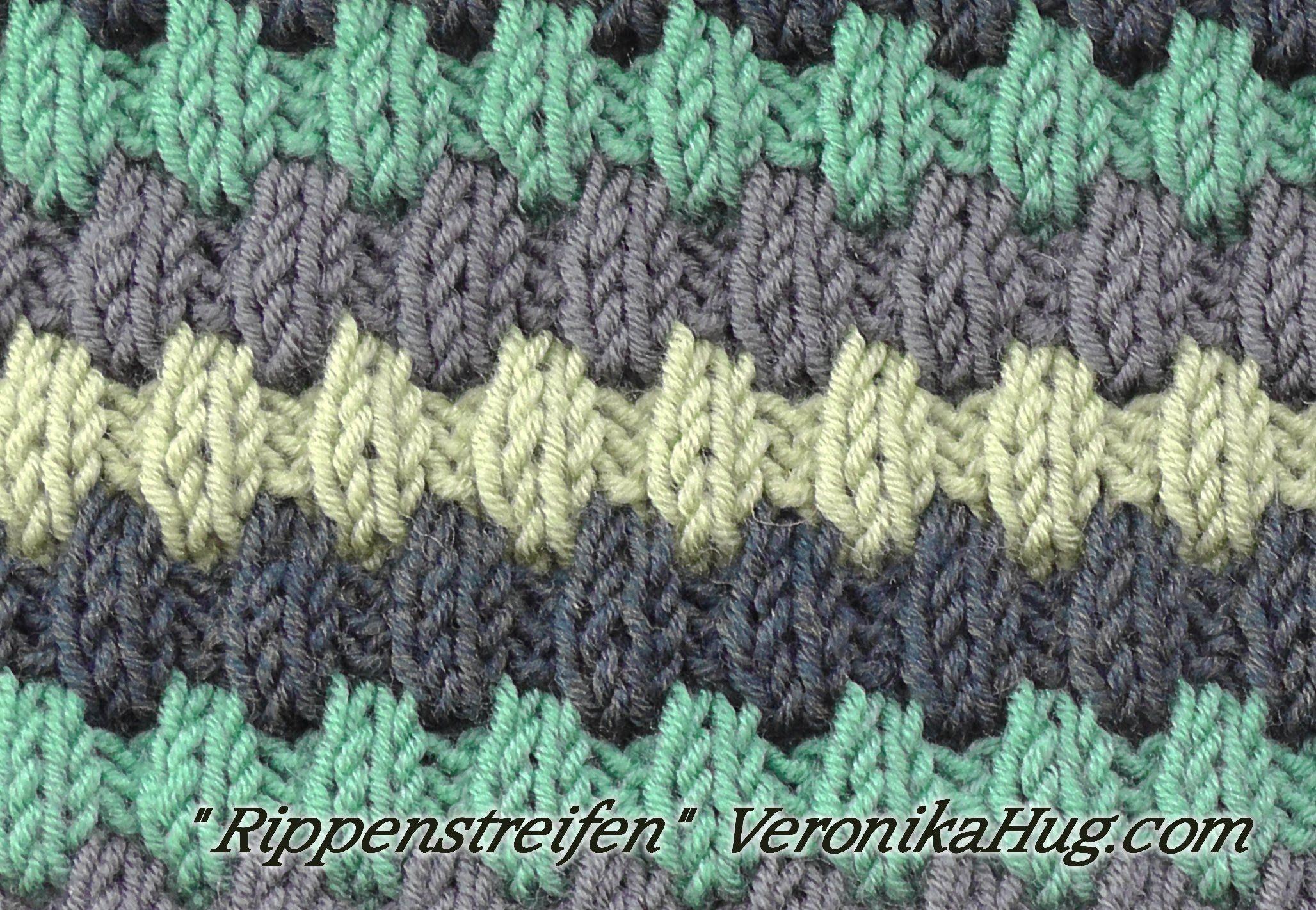 Stricken - Hebemaschenmuster - Rippenstreifen | stricken | Pinterest ...