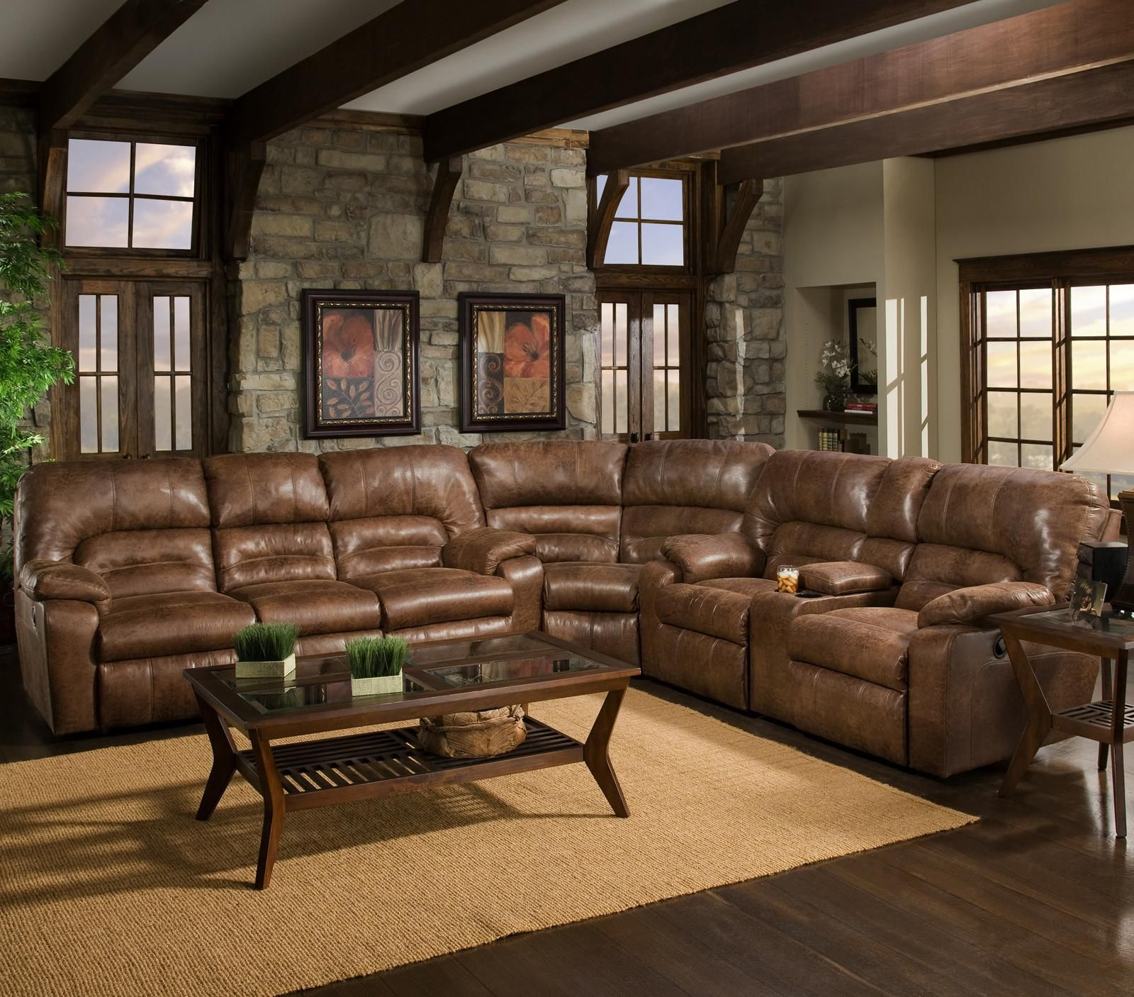 596 3 Piece Reclining Sectional By Franklin Basement