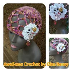 ((SOLD))   CROCHET 1 HAT DAILY! Day 298 AWE!Some Crochet by Gina Renay Mesh hat with crochet flower, #beach #spring #summer #cool #hat