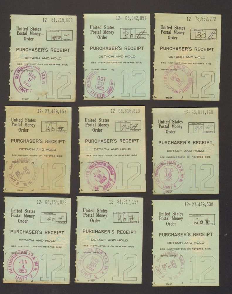 Lot of 9 1953 Receipts United States Postal Money Order
