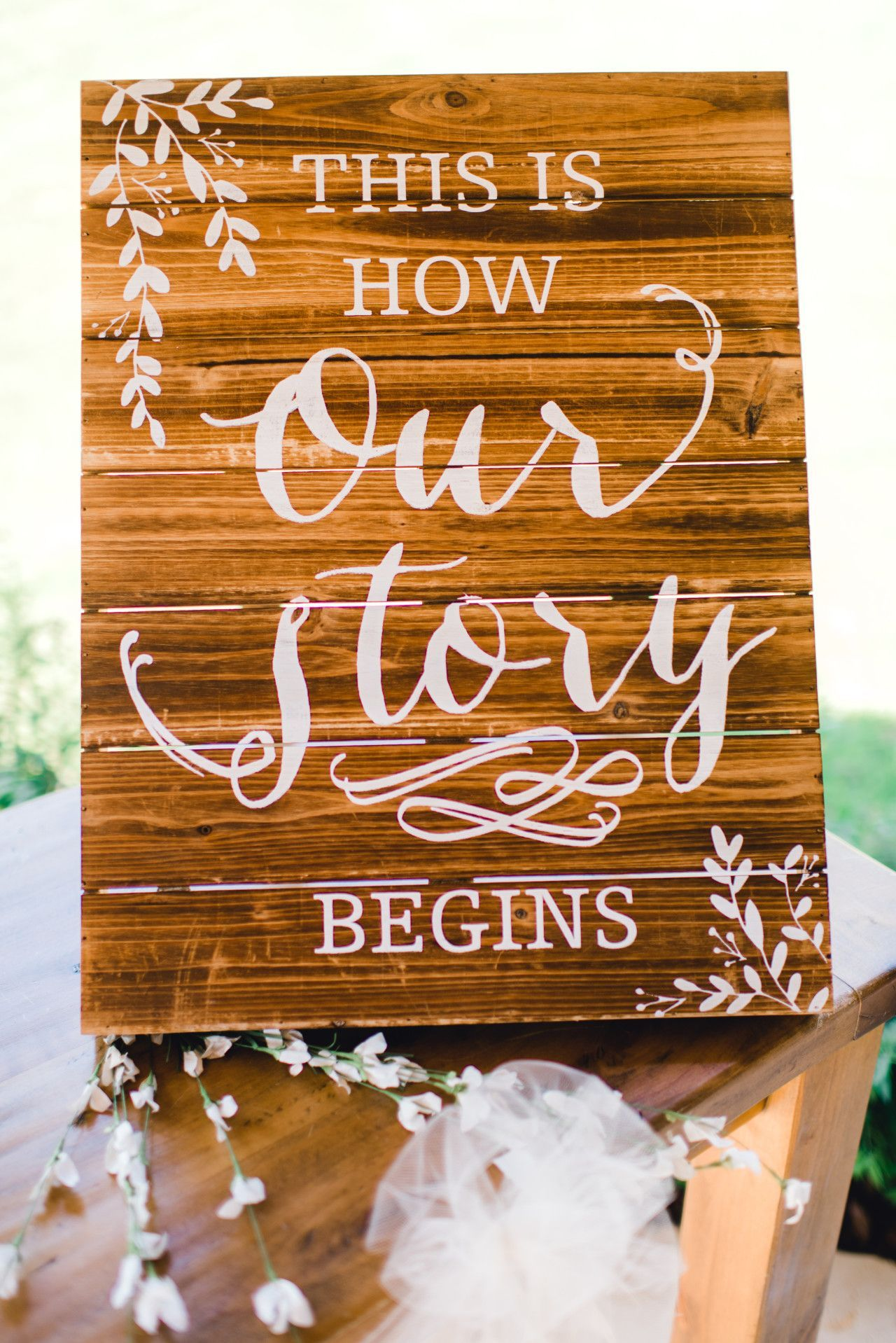 Elegant wooden wedding signs this is how our story begins cute elegant wooden wedding signs this is how our story begins cute junglespirit Image collections