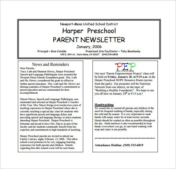 13+ Printable Preschool Newsletter Templates - Free Word ...