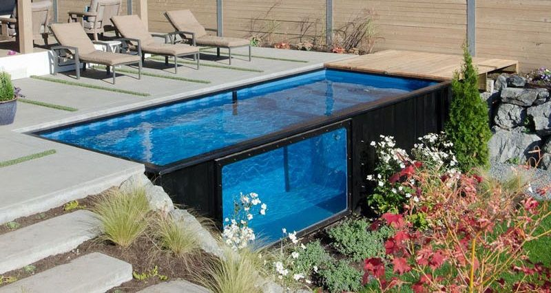 A Swimming Pool Made From A Shipping Container Container House
