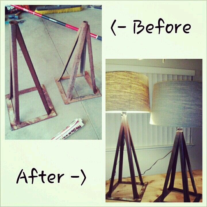 Light Jack Stand: Converted Old Rusted Jack Stands To Rustic Industrial