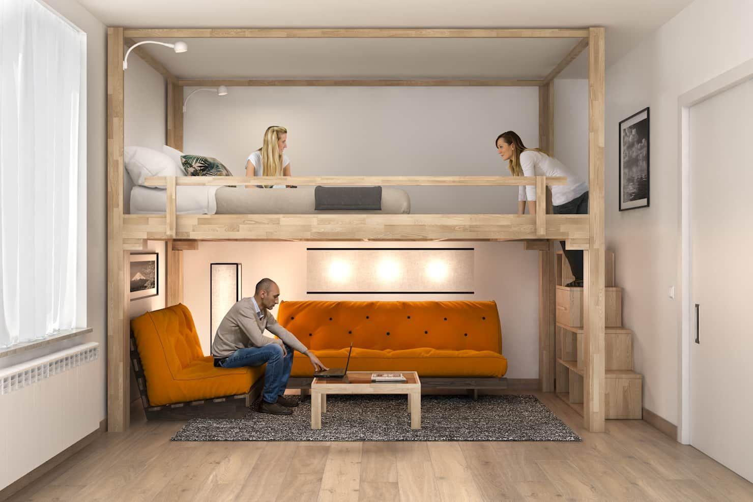 Letto a soppalco rising soggiorno minimalista di cinius s