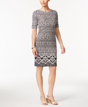 Karen Scott Print T-Shirt Dress, Only at Macy's - Black XXL