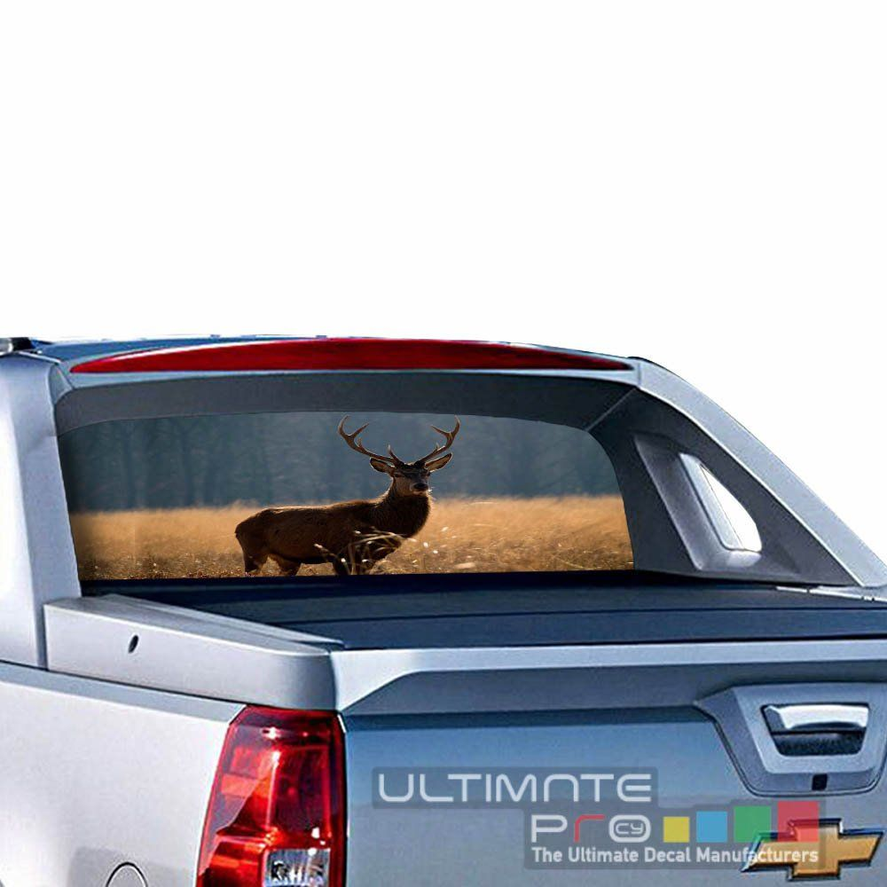 Decals rear back window perforated see thru sticker graphic decal sticker deer compatible with chevrolet avalanche film printed 4x4 off road
