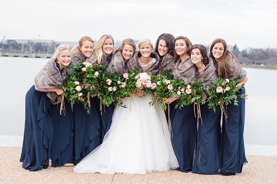 Wedding In Dc Peter And Claire Winter Wedding Bridesmaids Wedding Bridesmaids Blue Winter Wedding Shawl