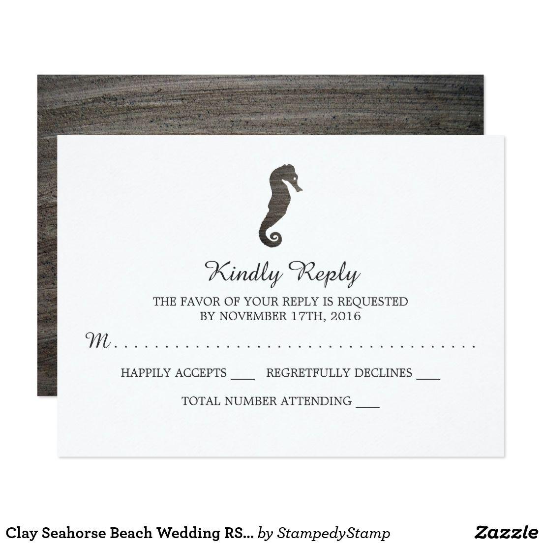 Clay Seahorse Beach Wedding RSVP Card | Wedding rsvp, Seahorses and Rsvp