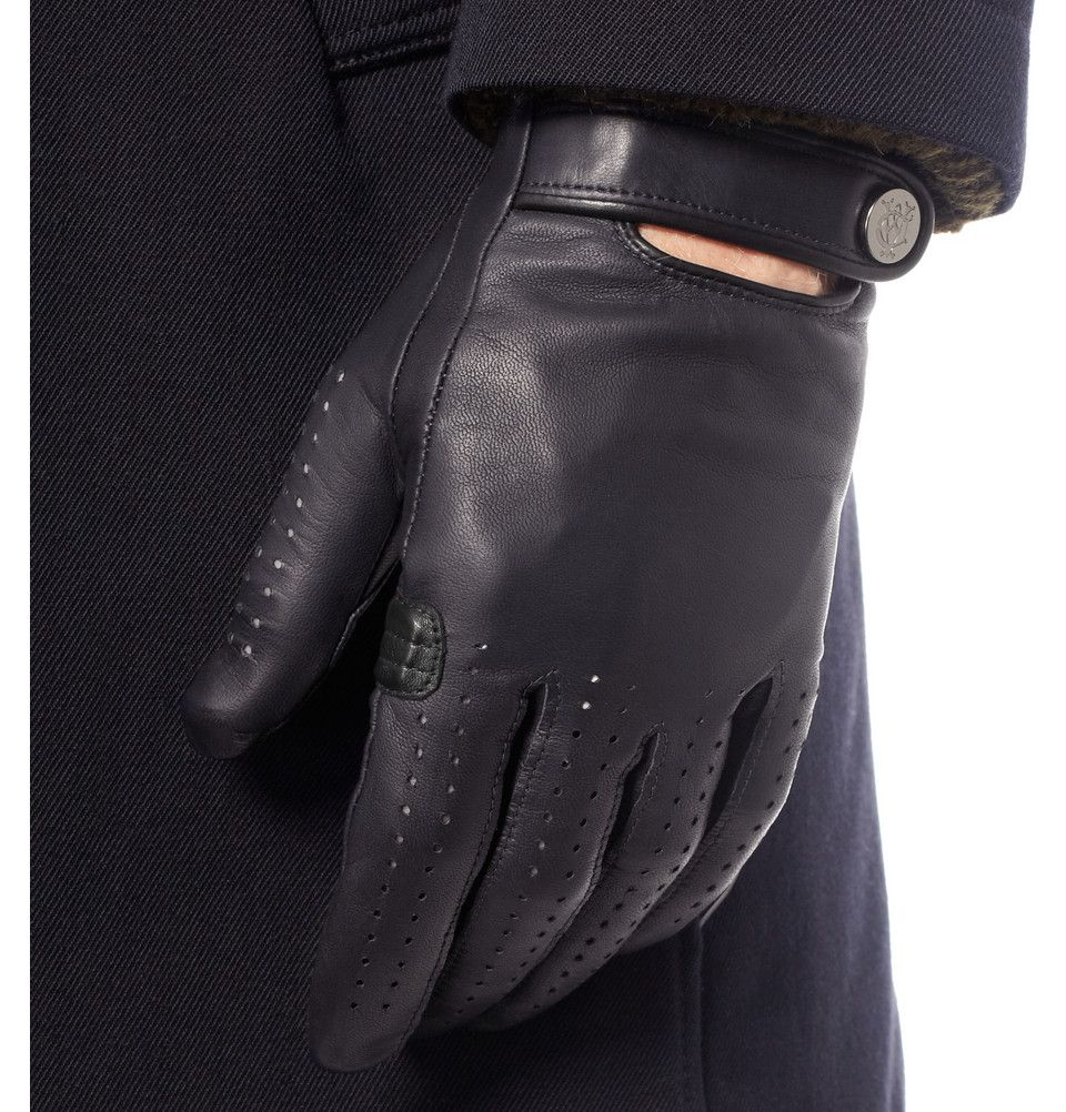 Handmade leather driving gloves - Leather Alfred Dunhill Perforated Leather Driving Gloves