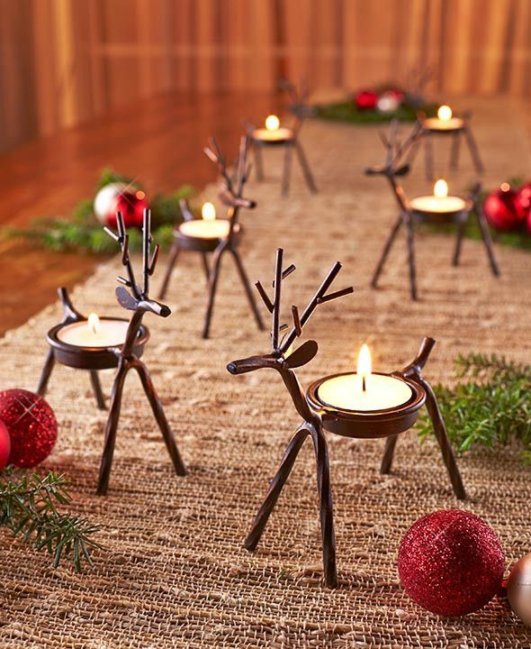 Reindeer Tea Light Holder Iron Rustic Country Christmas