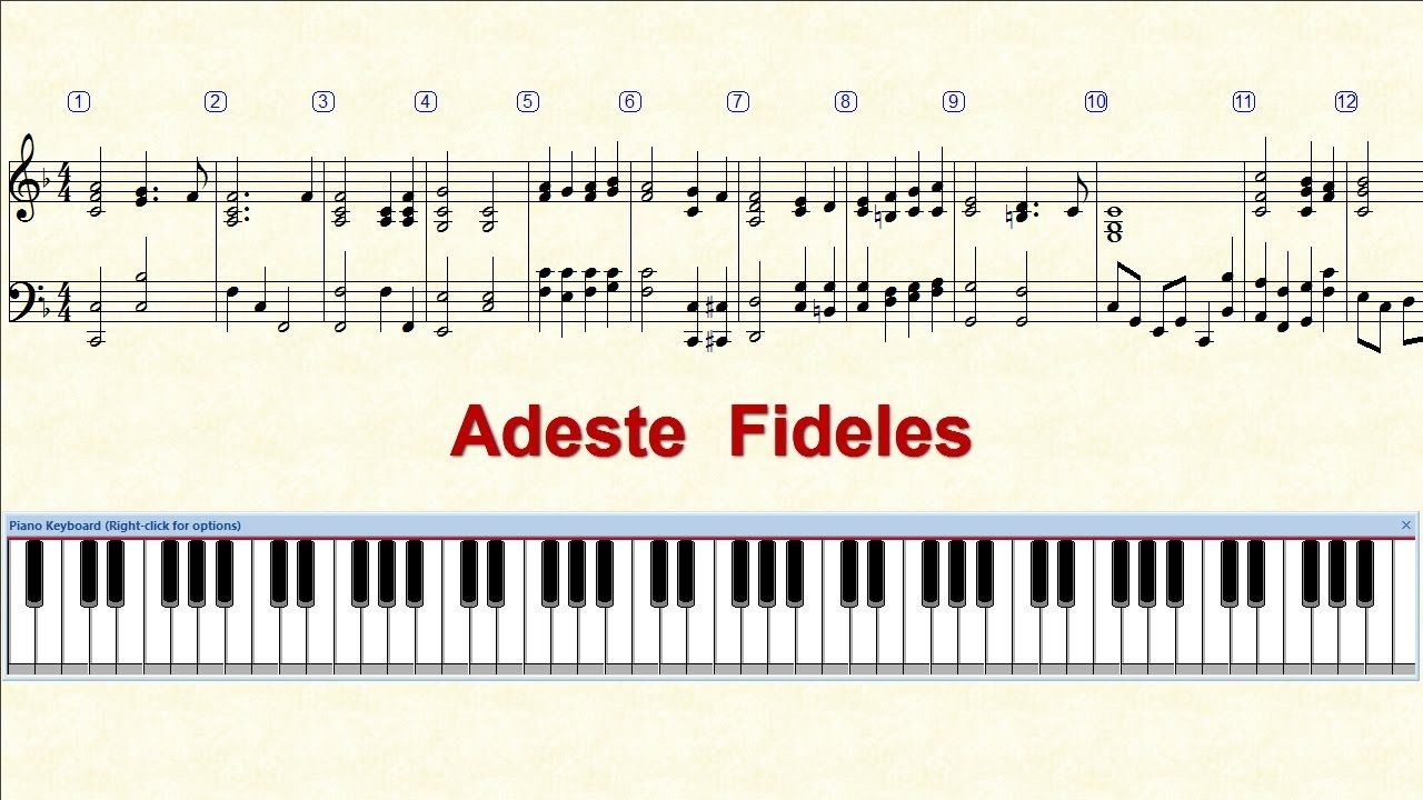 Piano Tutorial Sheet Adeste Fideles Hd Youtube With Images
