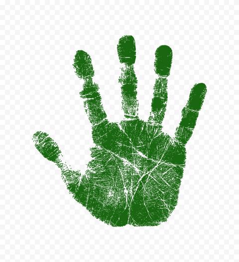 Hd Dark Green Real Hand Print Png Print Green Png