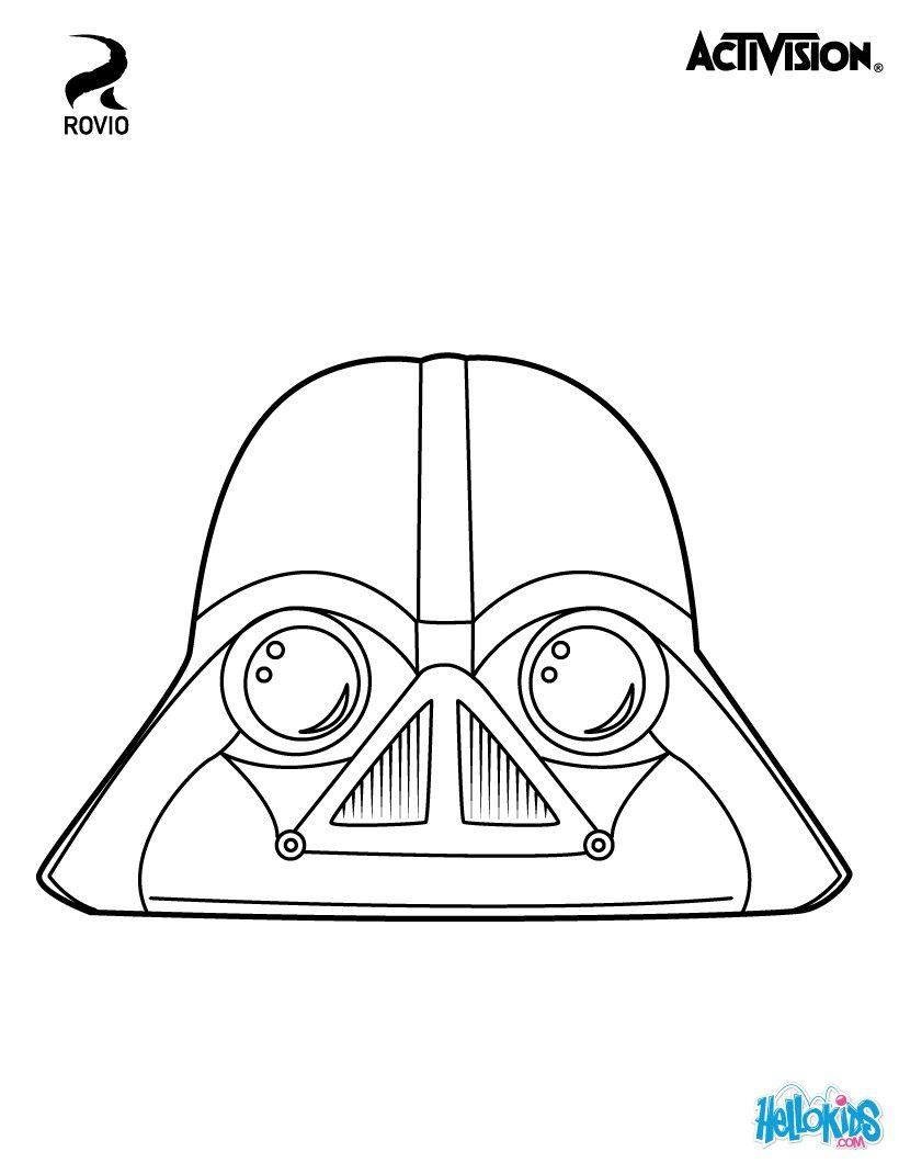 Birds Darth Vader coloring page. Original coloring page about Angry ...