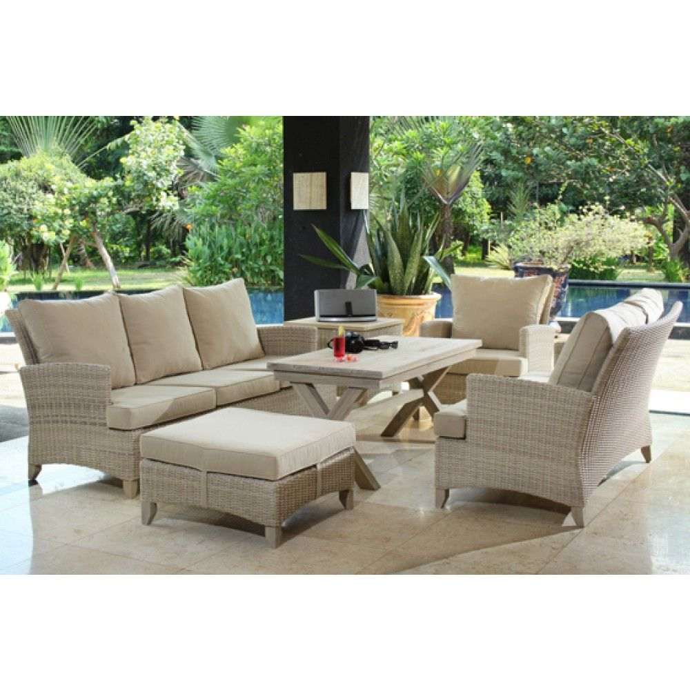 Venice Rustic White Wash Teak And Wicker Lounge | Wicker Outdoor Furniture  | Outdoor Furniture Part 58