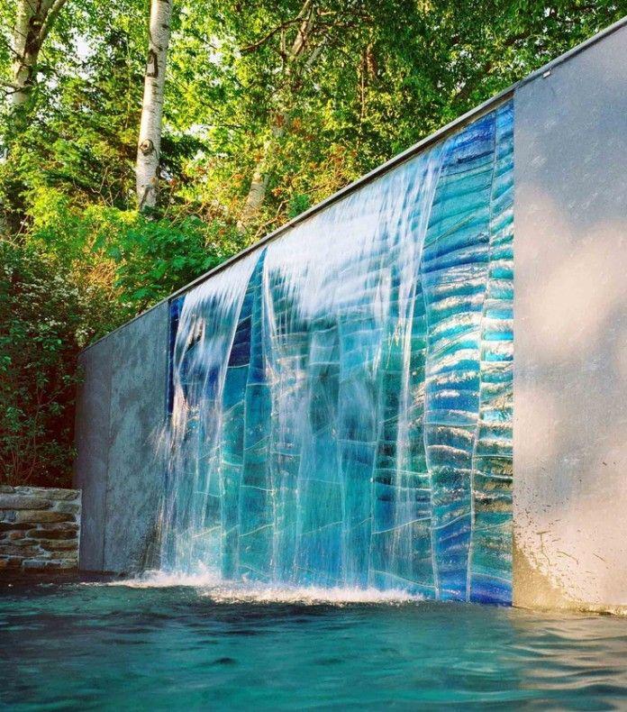 Стена Характеристика Синий Art Glass Water