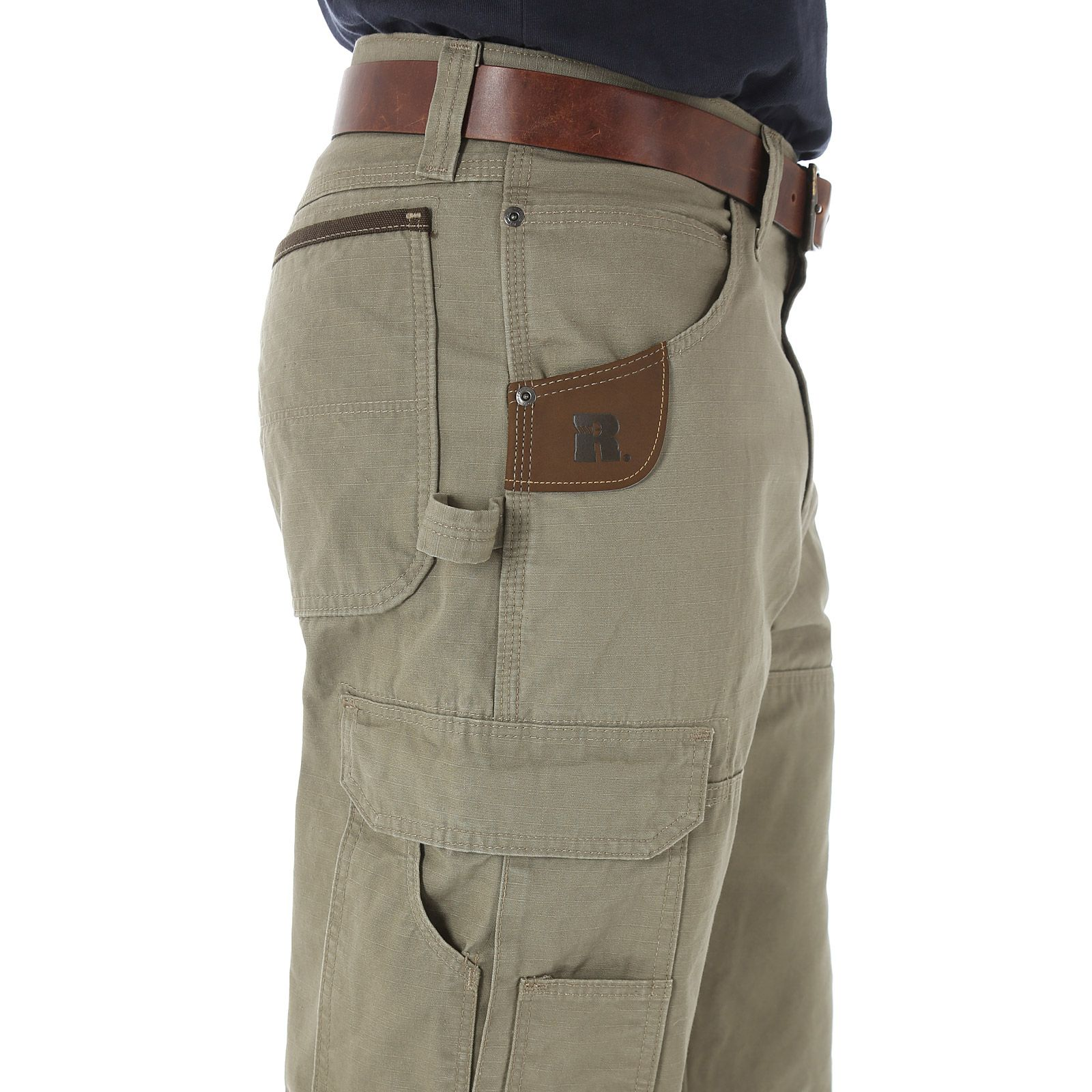 b328f004 Learn about mens pants. Ripstop Ranger Pant. Side cargo pockets with flaps.  Reinforced knees. Right side hammer loop. Leather tape measure  reinforcement.