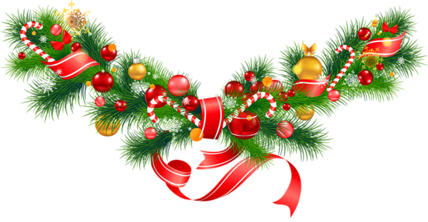 Transparent Christmas Pine Garland With Ornaments Clipart