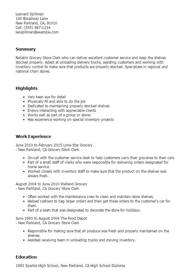 example resume for grocery store