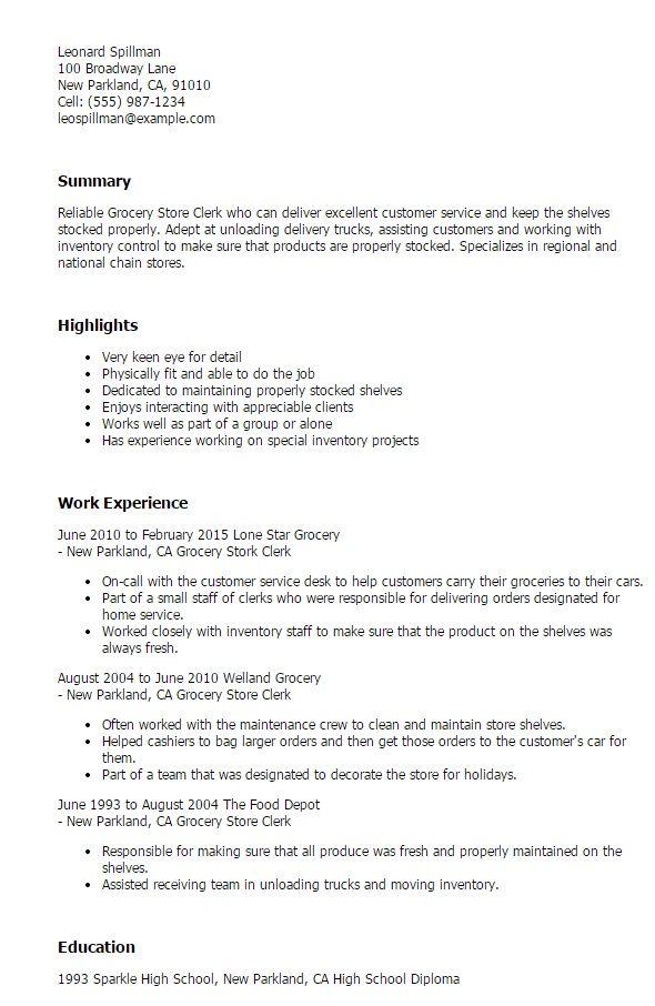 Grocery Store Clerk Resume - http\/\/jobresumesample\/1514 - produce clerk resume