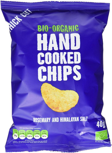 Trafo Organic Handcooked Crisps Rosemary   Himalaya Salt 125g in ... ee2b88462d