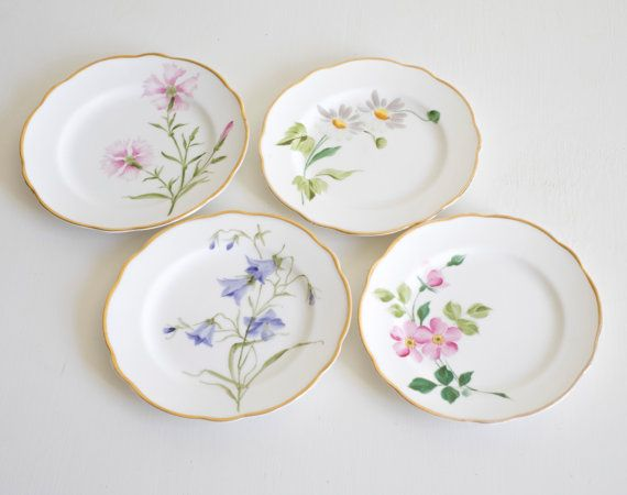 Antique Rörstrand Sweden Porcelain Plates 4 pc. 1920s by Wohnstadt & Antique Rörstrand Sweden Porcelain Plates 4 pc. 1920s by Wohnstadt ...