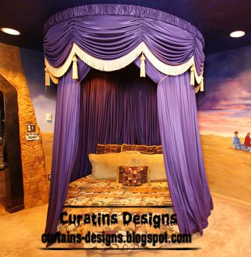 luxury purple bed curtain for luxury royal bedroom luxury purple canopy bed itu0027s round canopy bed and round bed curtain design made from silk purple fabric ... & contemporary Turkish curtain design for bedroom embossed purple ...