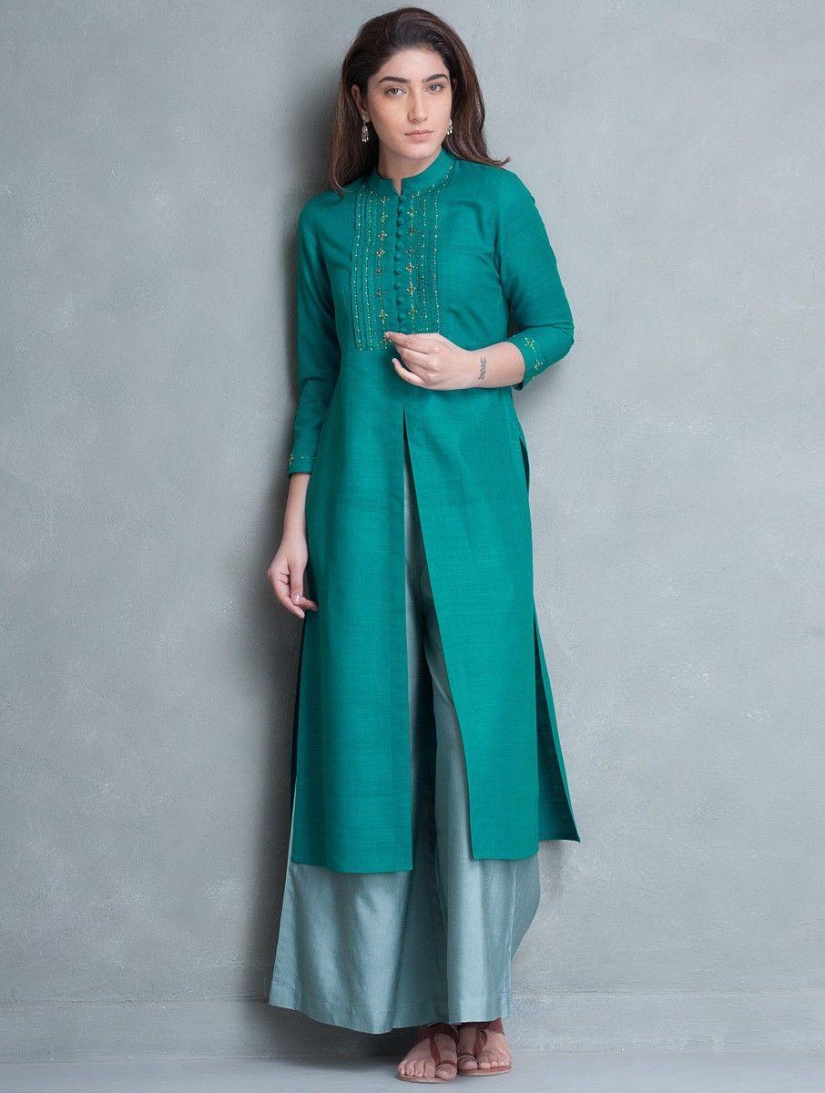 Buy Cyan Zari & Thread Embroidered Yoke Matka Silk Kurta Online at ...