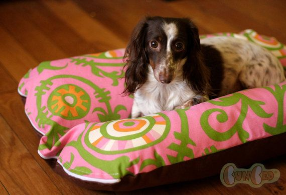 Dog Bed Dog Burrow Bed Dachshund Dog Bed Bun Bed The Ominous Cloud Pink Green Vines Tropical Hothouse Bunbed Dachshund Dog Bed Dachshund Dog Dog Bed