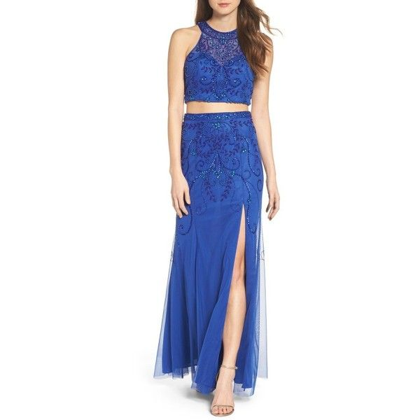 Women's Sean Collection Mesh Two-Piece Gown (€355) ❤ liked on Polyvore featuring dresses, gowns, royal, 2 piece dress, two piece evening dresses, slit gown, two piece dresses and backless dresses