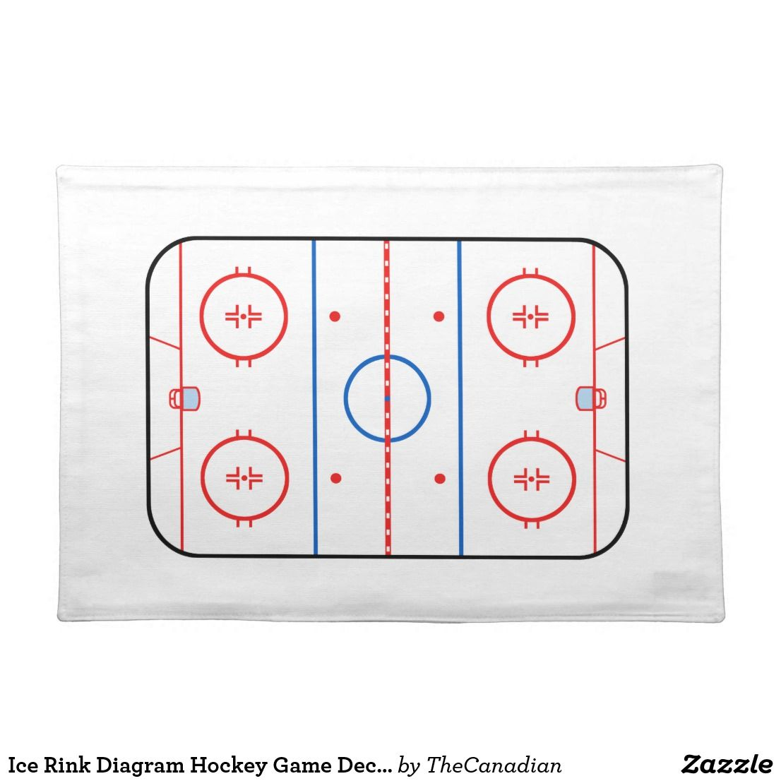 Ice Rink Diagram Hockey Game Decor Cloth Placemat   Zazzle ...