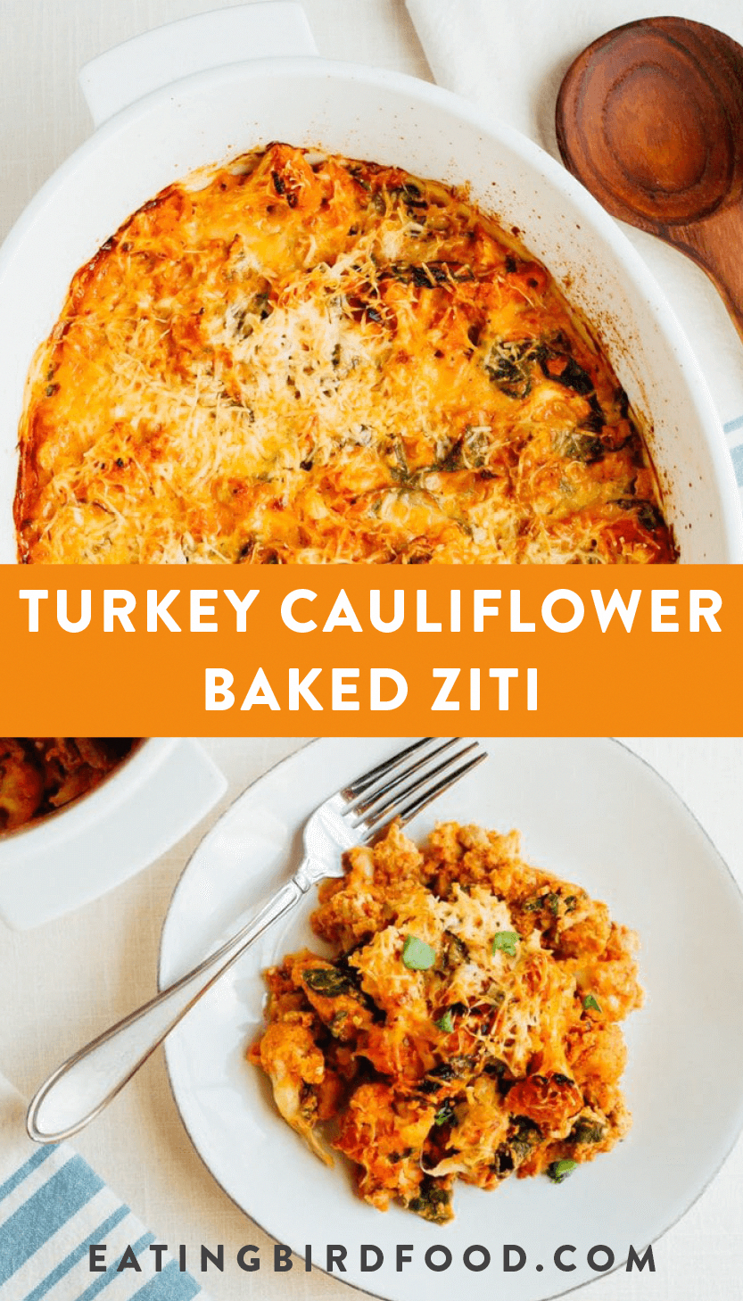 This turkey cauliflower baked ziti uses cooked cauliflower instead of pasta noodles so it's low-carb and gluten-free while still being cheesy and delicious.