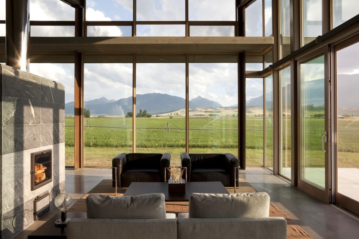 The living room with wheat field views