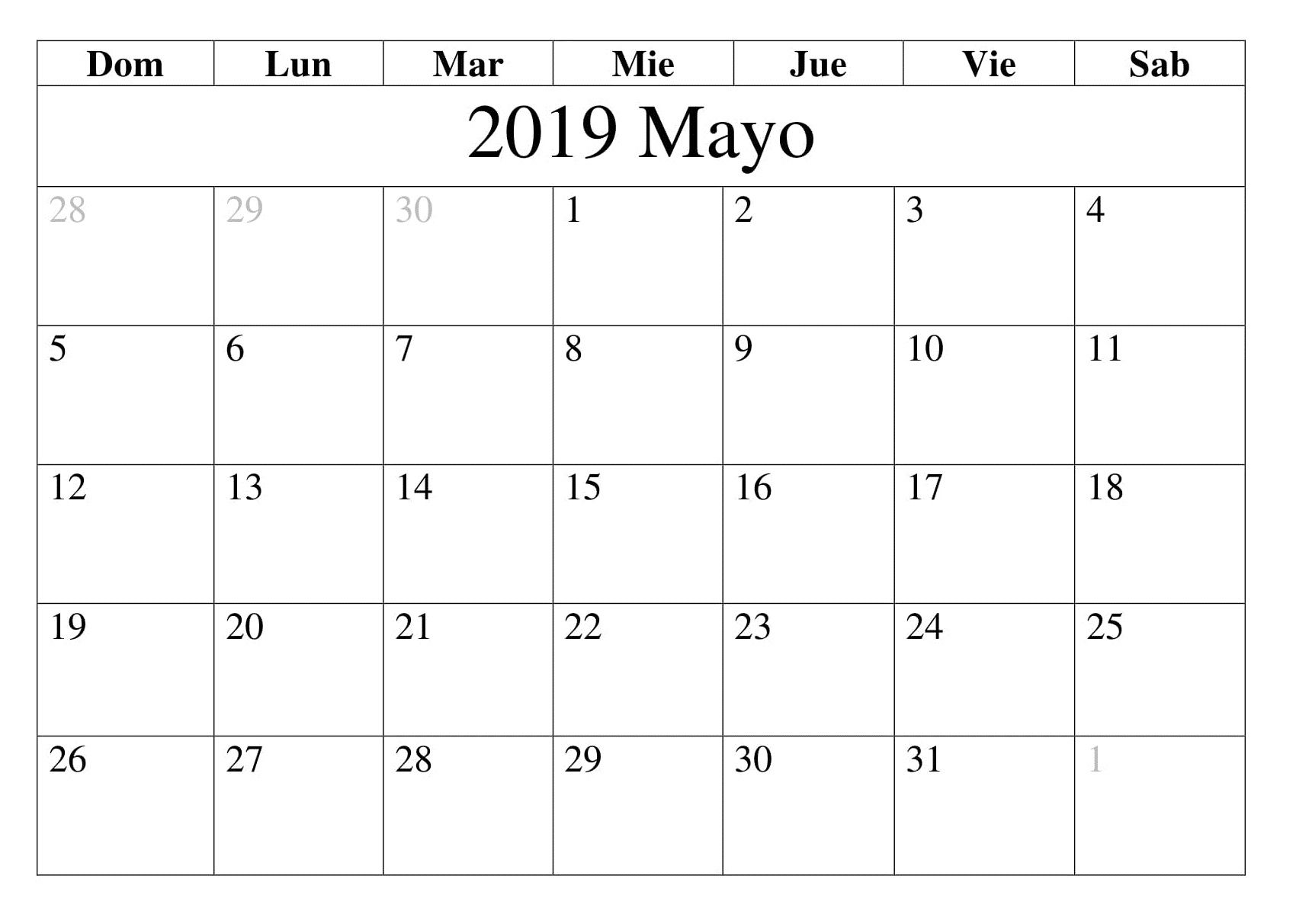 Calendario Blanco.Top 10 Punto Medio Noticias Calendario En Blanco Mayo 2019 Para