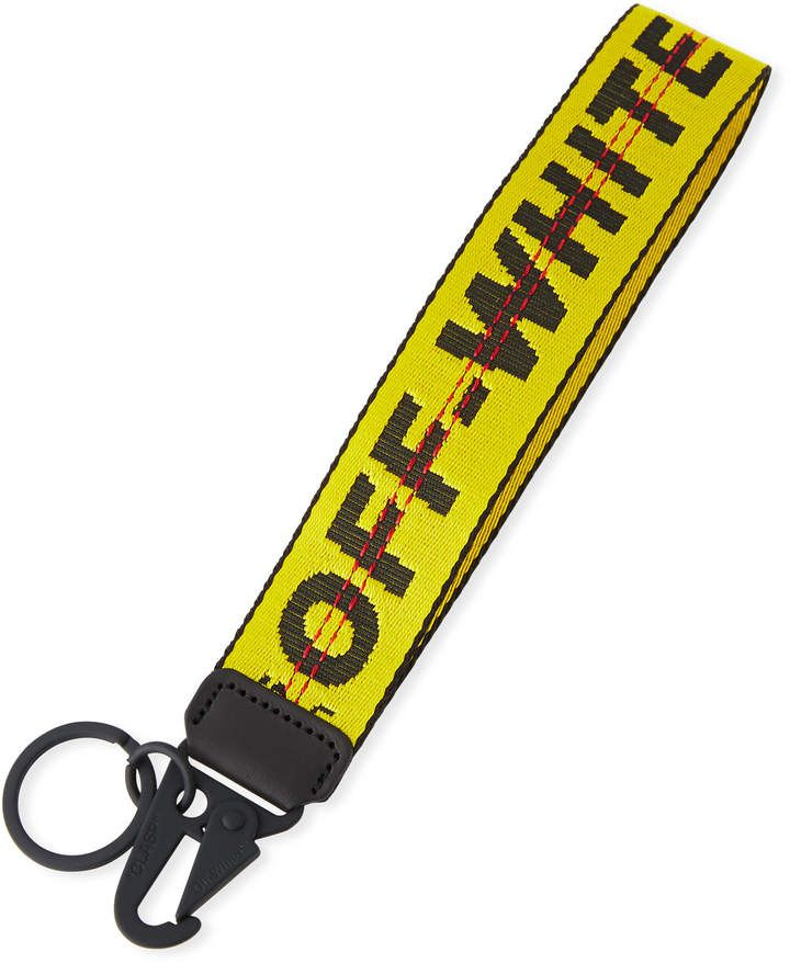 Off White Mens Industrial Web Strap Keychain Yellow Preppy Car
