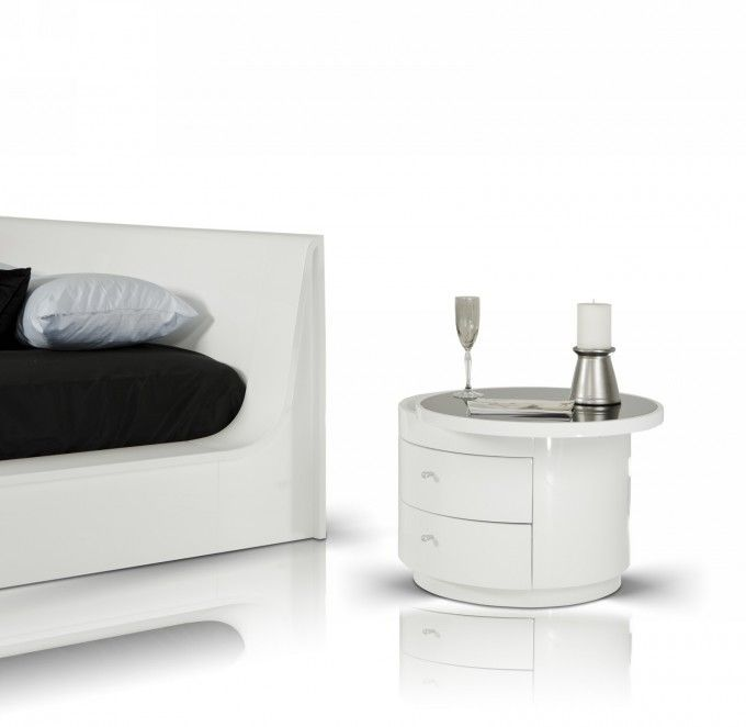 Luxury Nightstand White Round Nightstand With Double Drawers For