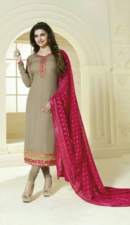 cb4aec8b51 Beige Straight Cut Georgette Party Dress Material with Brasso Dupatta