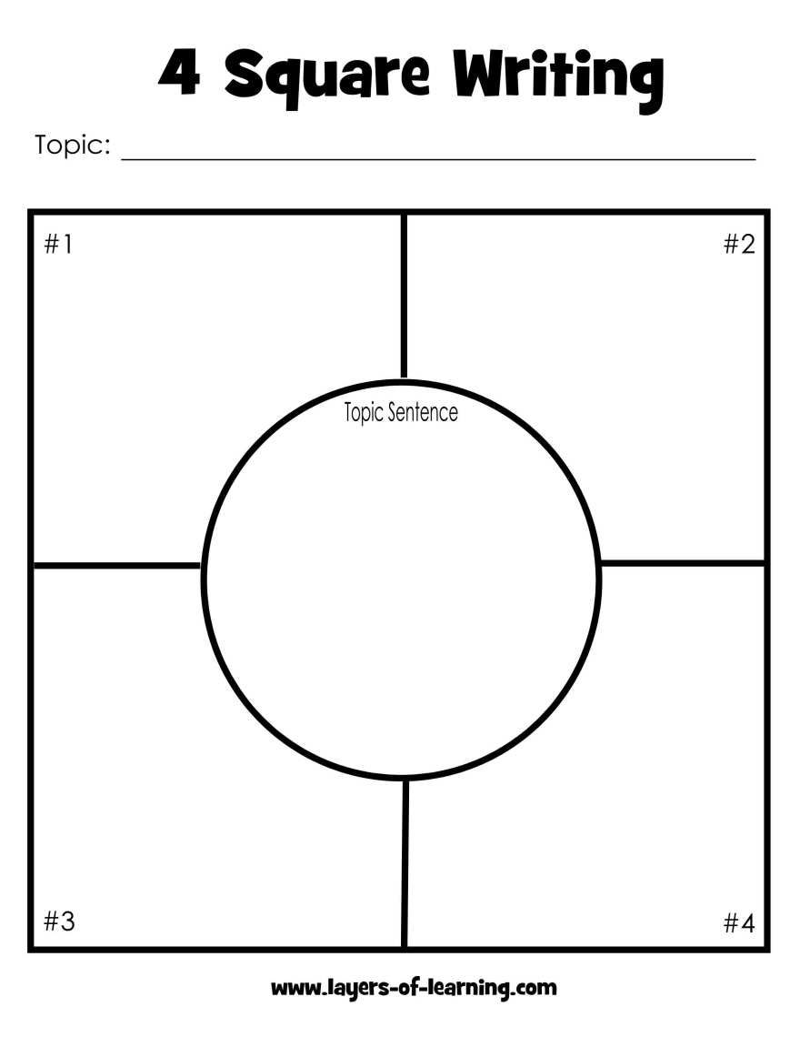 Worksheets Four Square Writing Worksheets four square writing method paragraph sentences and free printable layers of learning