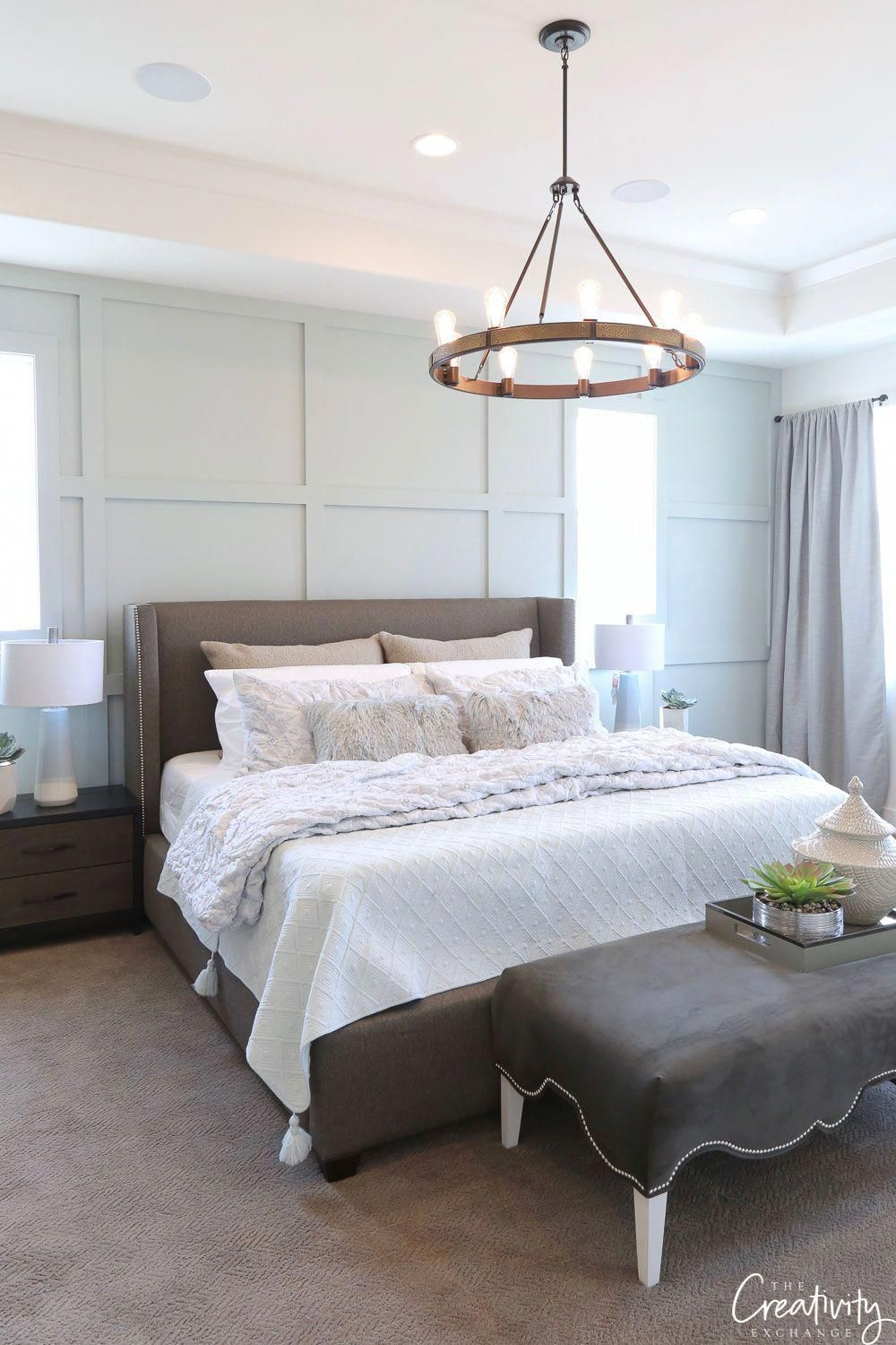 Sherwin Williams Oyster Bay. Master bedroom with trim grid