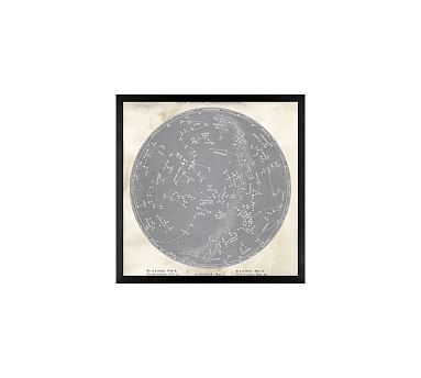 "Astrological Chart Gray, 18 x 18"", Wood Gallery, Black, No Mat"